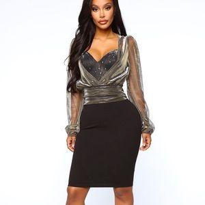 Fashion Nova Sexy Plunge neckline Midi Dress